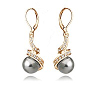 cheap -Women's Crystal Imitation Pearl Gold Plated Black Pearl Gray Pearl Drop Earrings - Basic For Wedding Party Daily Casual