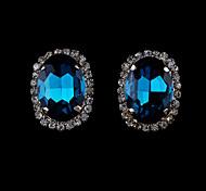 Серьги-гвоздики Кристалл Искусственный жемчуг Стразы Позолота 18K золото Имитация Алмазный Мода Черный Оранжевый Красный Зеленый Синий