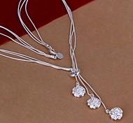 Недорогие -Женский Розы Цветы Ожерелья с подвесками Стерлинговое серебро Ожерелья с подвесками , Свадьба Для вечеринок Повседневные