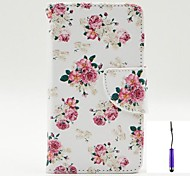 Charming Flowers Pattern PU Leather Case Cover with A Touch Pen ,Stand and Card Holder for LG L70