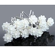 20pcs White Flower U Shape Flower Wedding Headpieces Hairpins