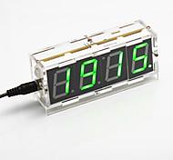 DIY 4-значный дисплей семь сегмент цифровой свет управления настольные часы комплект (зеленый свет)