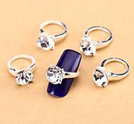 New 10PCS Clear Nail Art Jewelry Pinkie Nail Tips Ring Alloy Rhinestone Aryclic Nail Tips Decorations