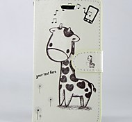 cheap -Cartoon giraffe PU Leather Full Body Wallet Protective Case with Stand and Card Slot For Sony Xperia M2 S50H