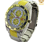 мужская круглый циферблат случайные часы сплав ремень кварцевые часы новой моды наручные часы (разных цветов)