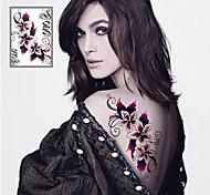 Séries Flores Tatuagem Adesiva - Non Toxic/Tribal/Lombar/Waterproof - para Feminino/Masculino/Adulto/Adolescente - de Papel -