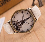 European Style Fashion Denim Retro Eiffel Tower Casual Wrist Watch Cool Watches Unique Watches Strap Watch
