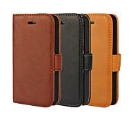 Недорогие -Для Кейс для iPhone 5 Кошелек / Бумажник для карт / со стендом / Флип Кейс для Чехол Кейс для Один цвет Твердый Искусственная кожаiPhone