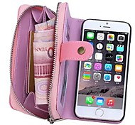 For iPhone 8 iPhone 8 Plus iPhone 6 iPhone 6 Plus Case Cover Wallet Card Holder Pouch Bag Case Solid Color Hard Genuine Leather for