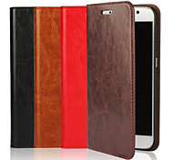 For Samsung Galaxy Case Wallet / Card Holder / with Stand / Flip Case Full Body Case Solid Color Genuine Leather for SamsungS7 edge / S7