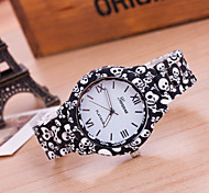 cheap -Women's Quartz Wrist Watch Hot Sale Plastic Band Flower Skull Fashion Multi-Colored