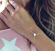 European Style Fashion Simple Elegant Heart Bracelet with Ring Christmas Gifts