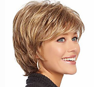 cheap -Synthetic Hair Wigs Wavy Highlighted/Balayage Hair With Bangs Capless Natural Wigs Short Brown