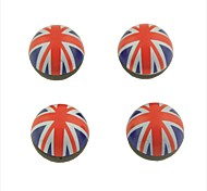 cheap -4 Pcs Car Union Jack Flat Pattern Round Shape Tire Valve Wheel Stem Cap Cover