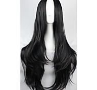 Недорогие -жен. Парики из искусственных волос Без шапочки-основы Черный парик Костюм Карнавальные парики