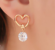 cheap -Women's Heart Drop Earrings - Basic Heart Fashion Golden Heart Earrings For Party Daily Casual
