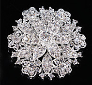 Vintage Women Clear Crystal Rhinestone Diamond Leaf Wedding Brooch