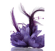 Purple Feather Flower Fascinators for Wedding/Party Headpiece