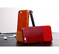 Business Mixed Solid PU and Cow Real Leather Case for iPhone 6