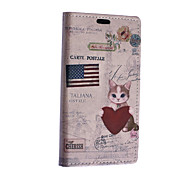 For Nokia Case Wallet / Card Holder / with Stand Case Full Body Case Cat Hard PU Leather Nokia Nokia Lumia 640