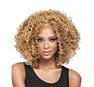 New Fashion Women's Glueless Wig Deep Blonde Mix Curly Short Hair Wigs for African American