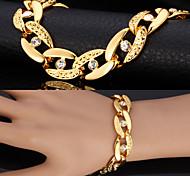 Men's Chain Bracelet Vintage Bracelet Imitation Diamond Personalized Costume Jewelry Fashion Statement Jewelry Rhinestone Platinum Plated