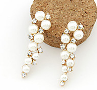 cheap -Women's Pearl Imitation Pearl Rhinestone Drop Earrings - Fashion White Earrings For Daily