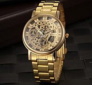 cheap -Men's Quartz Wrist Watch Hollow Engraving Stainless Steel Band Charm Gold