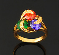 U7® Multicolor/Clear Cubic Zirconia Statement Rings for Women 18K Gold Plated Luxurious CZ Promise Rings
