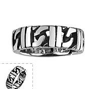 Недорогие -Майя классического индивидуальный щедрым уникальный нерегулярные выдалбливают круг из нержавеющей стали человек кольцо (черный) (1шт)