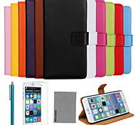 For iPhone 8 iPhone 8 Plus iPhone 6 iPhone 6 Plus Case Cover Card Holder with Stand Flip Full Body Case Solid Color Hard Genuine Leather