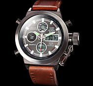 cheap -Men's Wrist Watch Japanese Alarm / Calendar / date / day / Chronograph Leather Band Luxury Brown