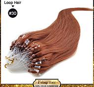Недорогие -Накладка на микрокольце Расширения человеческих волос Человеческий волос Прямой силуэт 100 Пряди / пакет 16 дюйм 18 дюйм 20 дюйм 22 дюйм