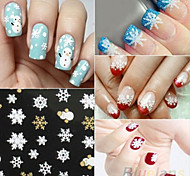 Hot Gold 3D Nail Art Stickers Decals,12  sheet Top Christmas snowman Mixed Designs Nail Tips Accessory Decoration Tool
