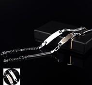 Personalized Gift Couple Lovers Stainless Steel Jewelry Custom ID Engraved Bracelets (0.6cm Width & 0.8cm Width)
