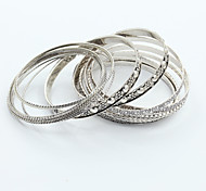 cheap -Bangles Unique Design Vintage Cute Party Work Casual Cute Style Fashion Simple Style Rhinestone Silver Plated Alloy Others Jewelry Party