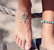 cheap -Turquoise Layered / Hollow Out Anklet Barefoot Sandals - Turquoise Drop Unique Design, Vintage, Party Screen Color For Party / Birthday / Gift / Women's