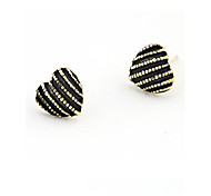 European Style Fashion Peach Heart Oil Drip Alloy Stud Earrings