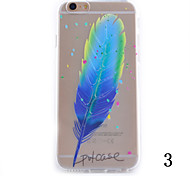 Недорогие -рельефным рисунком пера все включено прозрачный корпус ТПУ материал телефон Iphone 6 плюс / 6S плюс (ассорти цветов)