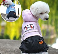 Dog Hoodie Jumpsuit Dog Clothes Cowboy Fashion Jeans Dark Blue Pink Light Blue Costume For Pets