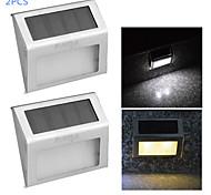 Недорогие -youoklight® 2шт 0.2W 2-LED теплый белый / белый свет солнечный управления настенный светильник - серебряный
