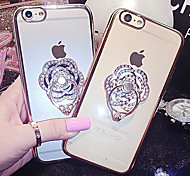 For iPhone 6 Case / iPhone 6 Plus Case Rhinestone / Plating / Ring Holder Case Back Cover Case Flower Hard MetaliPhone 6s Plus/6 Plus /