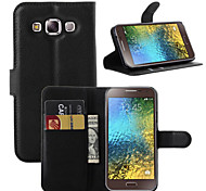 For Samsung Galaxy Case Card Holder / Wallet / with Stand / Flip Case Full Body Case Solid Color PU Leather SamsungOn7 Pro / On5 Pro / E7