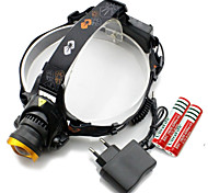 568-T6 three Headlamps Cap Lights LED Light Bulbs Chargers Headlight LED 3000 lm 3 Mode Cree XM-L T6 Adjustable Focus Rechargeable