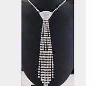 cheap -Women's Imitation Diamond Statement Necklace - Tassel White Necklace For