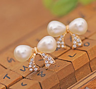Stud Earrings Ear Cuffs Pearl Crystal Imitation Pearl Gold Plated Simulated Diamond White Jewelry Party Daily Casual 2pcs