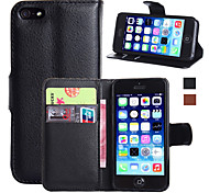 cheap -Case For Apple iPhone 5 Case iPhone 6 iPhone 6 Plus iPhone 7 Plus iPhone 7 Card Holder Wallet with Stand Flip Full Body Cases Solid Color