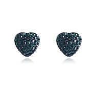 Stud Earrings Crystal Simulated Diamond Alloy Heart Fashion Heart Green Pink Jewelry Party Daily Casual 2pcs