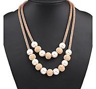 Недорогие -Женский Шарообразные Мода Двойной слой европейский Слоистые ожерелья Жемчужные ожерелья Жемчуг Сплав Слоистые ожерелья Жемчужные ожерелья