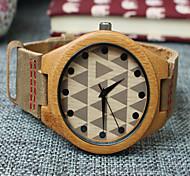 Недорогие -Муж. Наручные часы Уникальный творческий часы Часы Дерево Кварцевый Кожа Группа Хаки